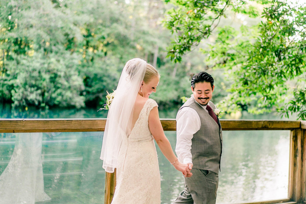 Bride and Groom by the springs at Homosassa Wildlife Park