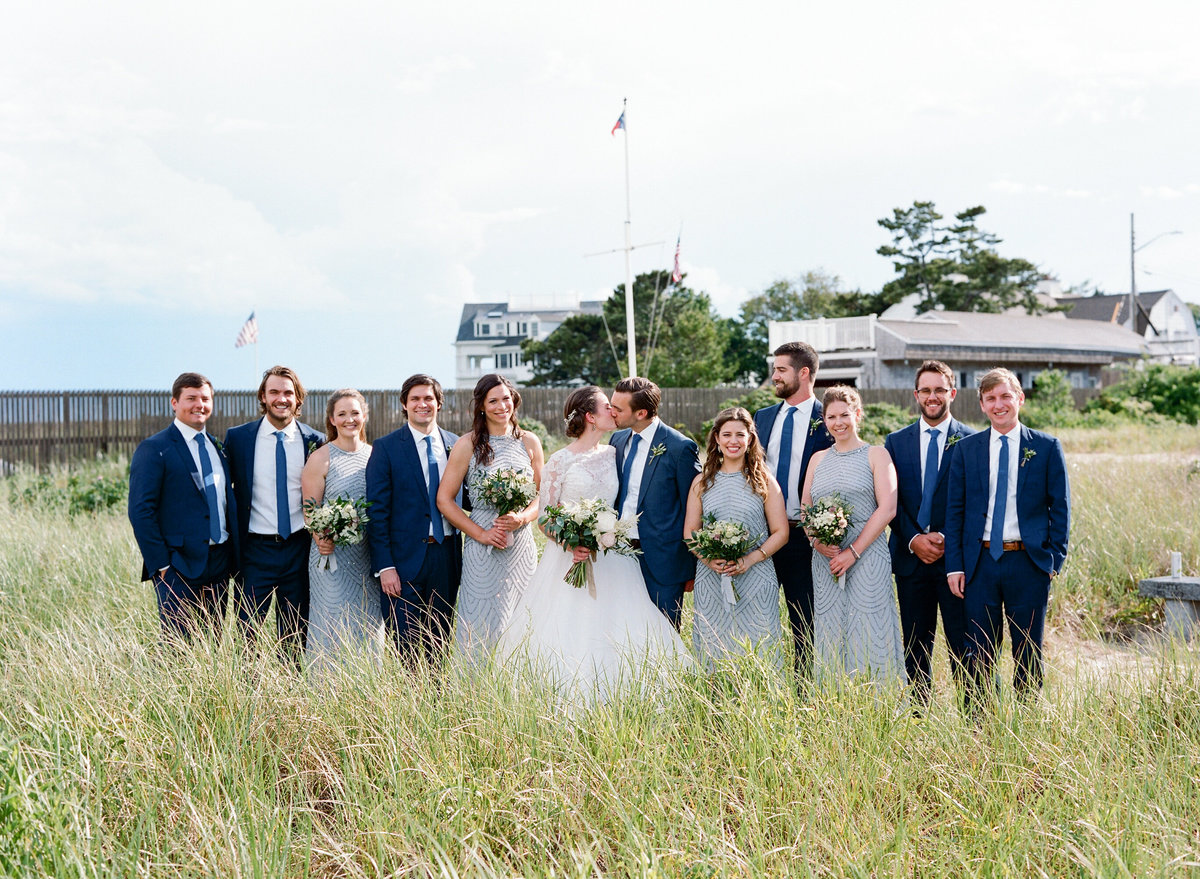 Bridal party on beach Hyannis Port
