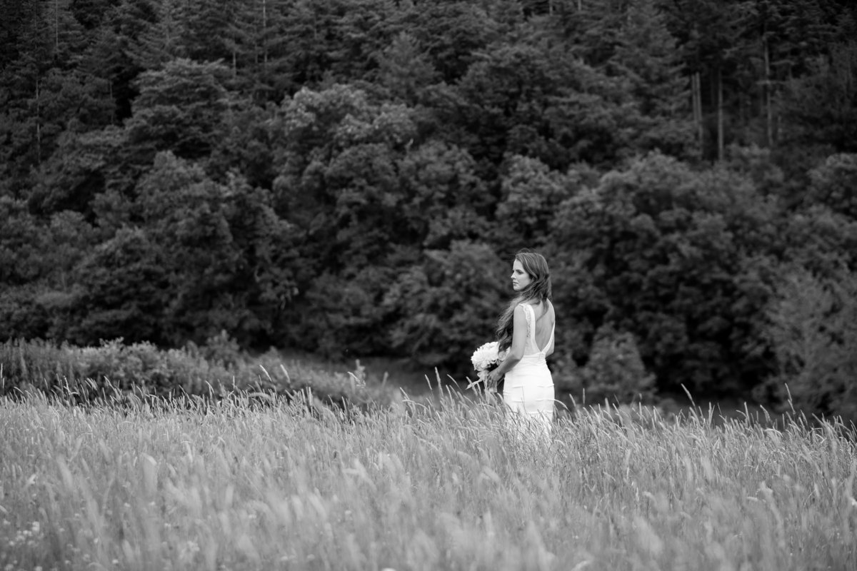 bride alone in a field