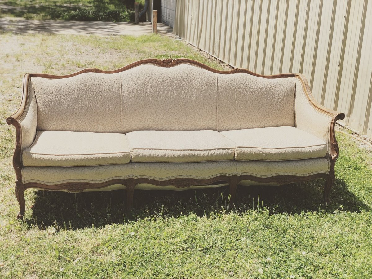 cream antique couch