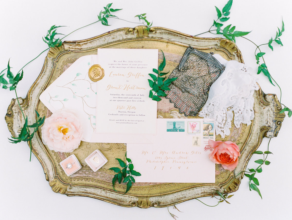 film photo of a wedding invitation suite