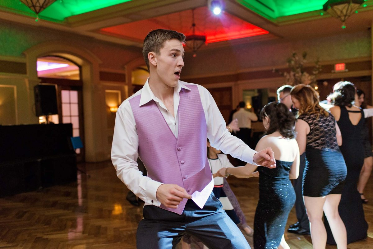 Wedding guest dancing at Larkfield Manor