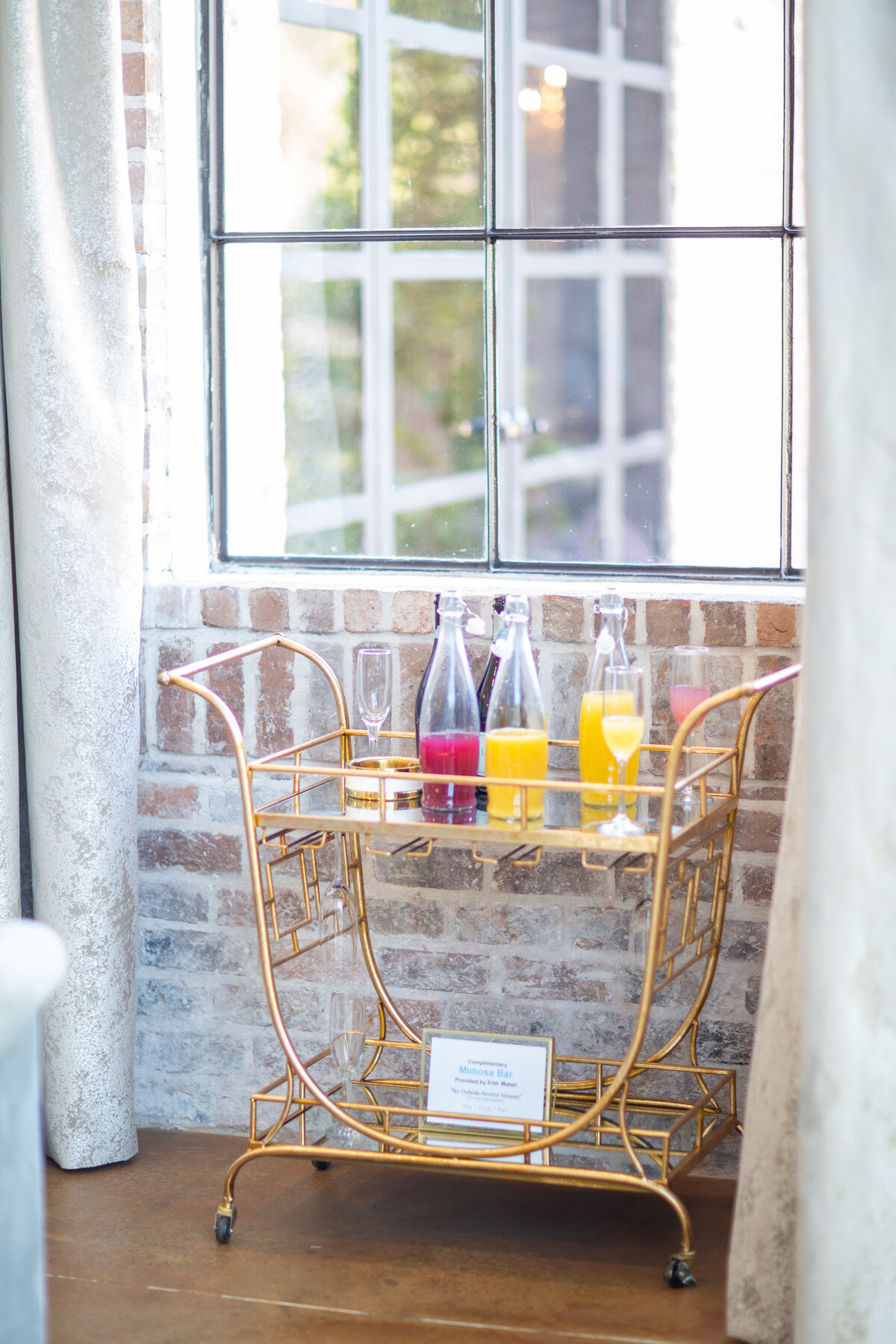 Sweet Mimosa Bar Cart in the Bridal Suite at Iron Manor