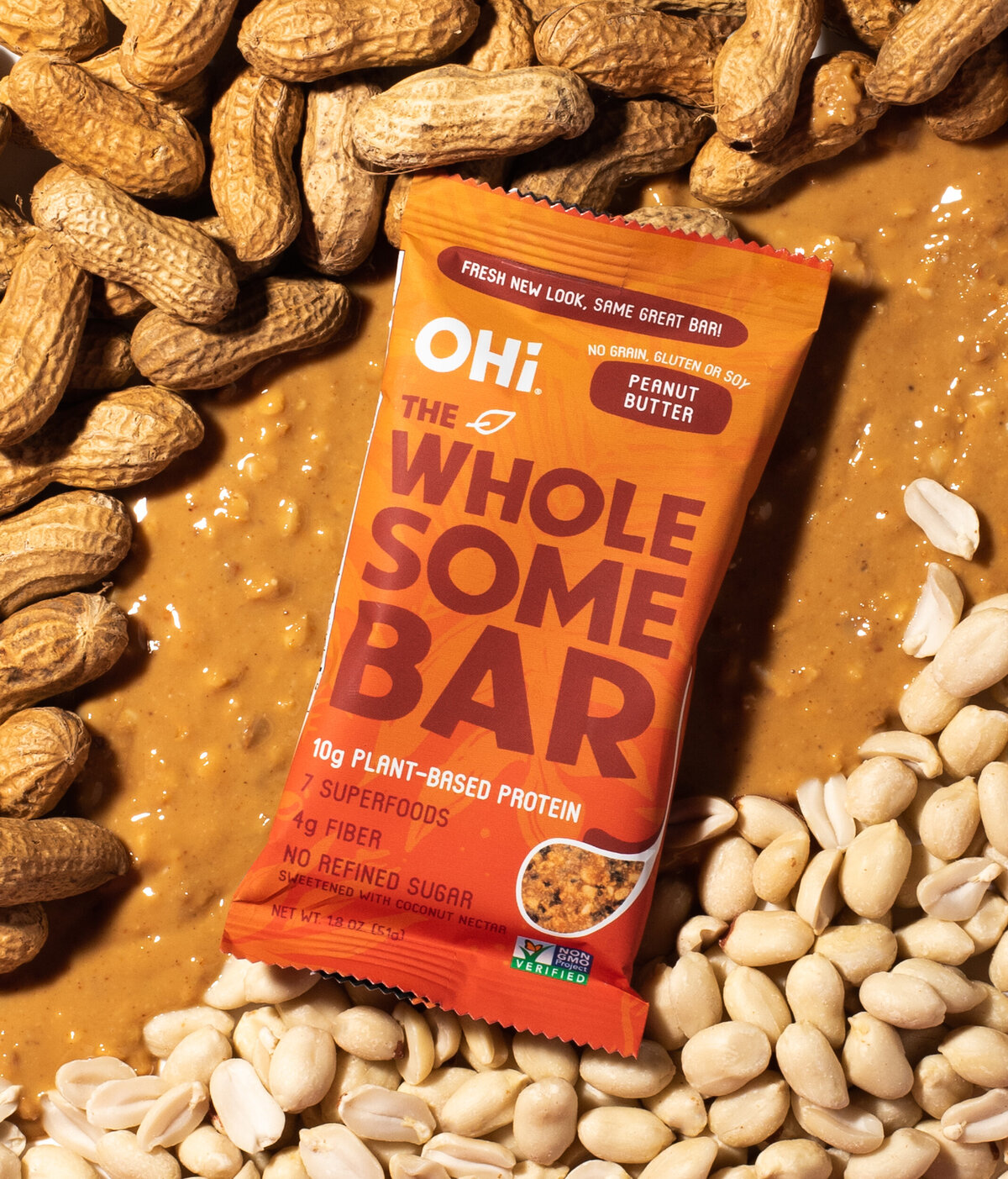 ingredient product shot for ohi wholesome bars peanut butter flavor