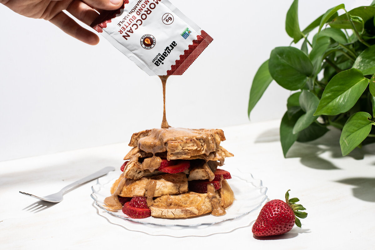 argania butter almond butter packs on french toast