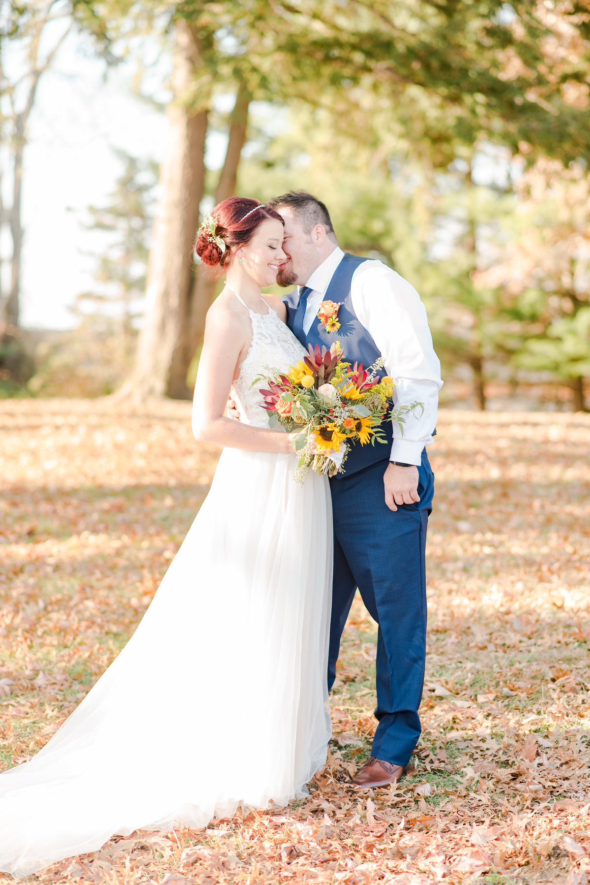 Couple Portraits Wedding Brewery Cincinnati Ohio Colorful Flowers-29