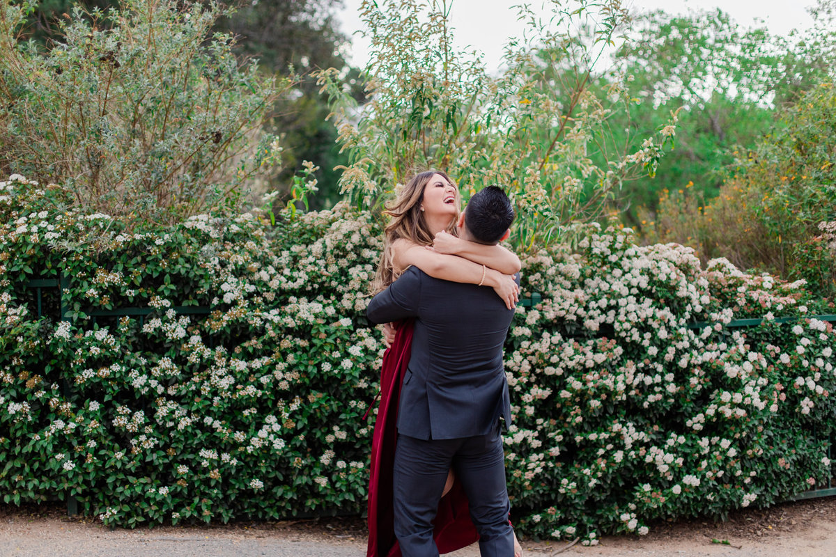 UC Riverside Botanical Gardens, Engagement Photography, Riverside Phototgrapher, Garden Engagement, Couple Photography, Red Dress-63