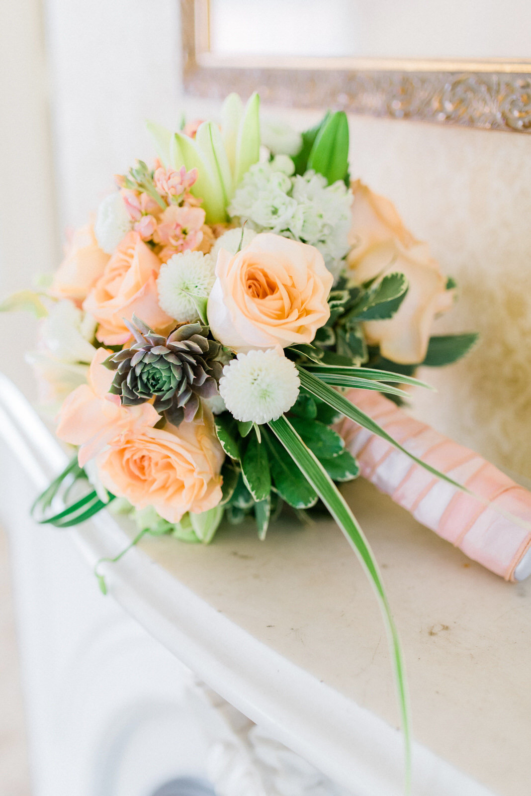 vintage bridal bouquet peach and pink