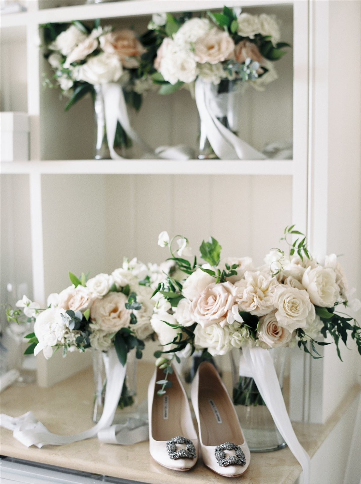 Manolo Blahnik shoes and garden inspired bouquets for a Cape Cod Wedding by luxury Cape Cod wedding planner and designer Always Yours Events