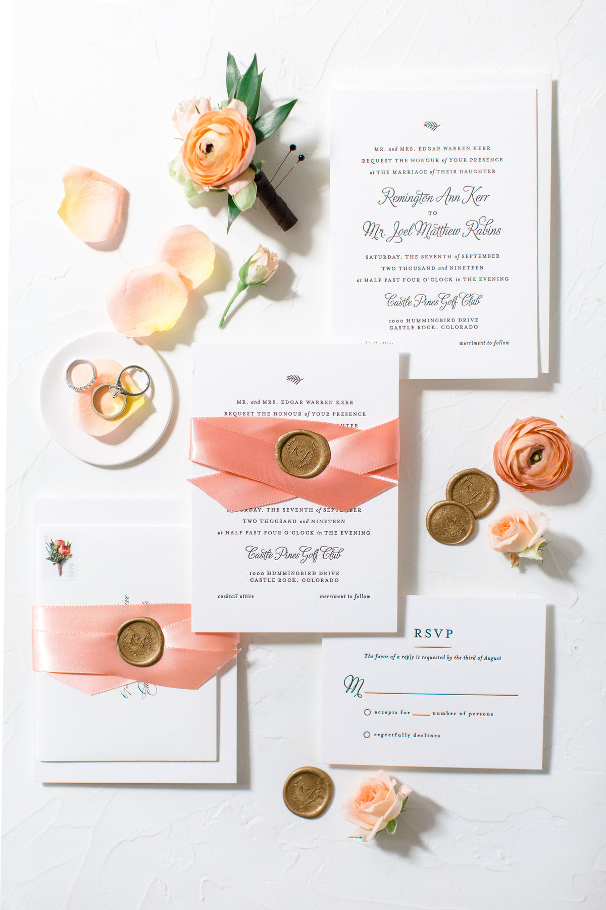 Peach and gold wedding stationery suite