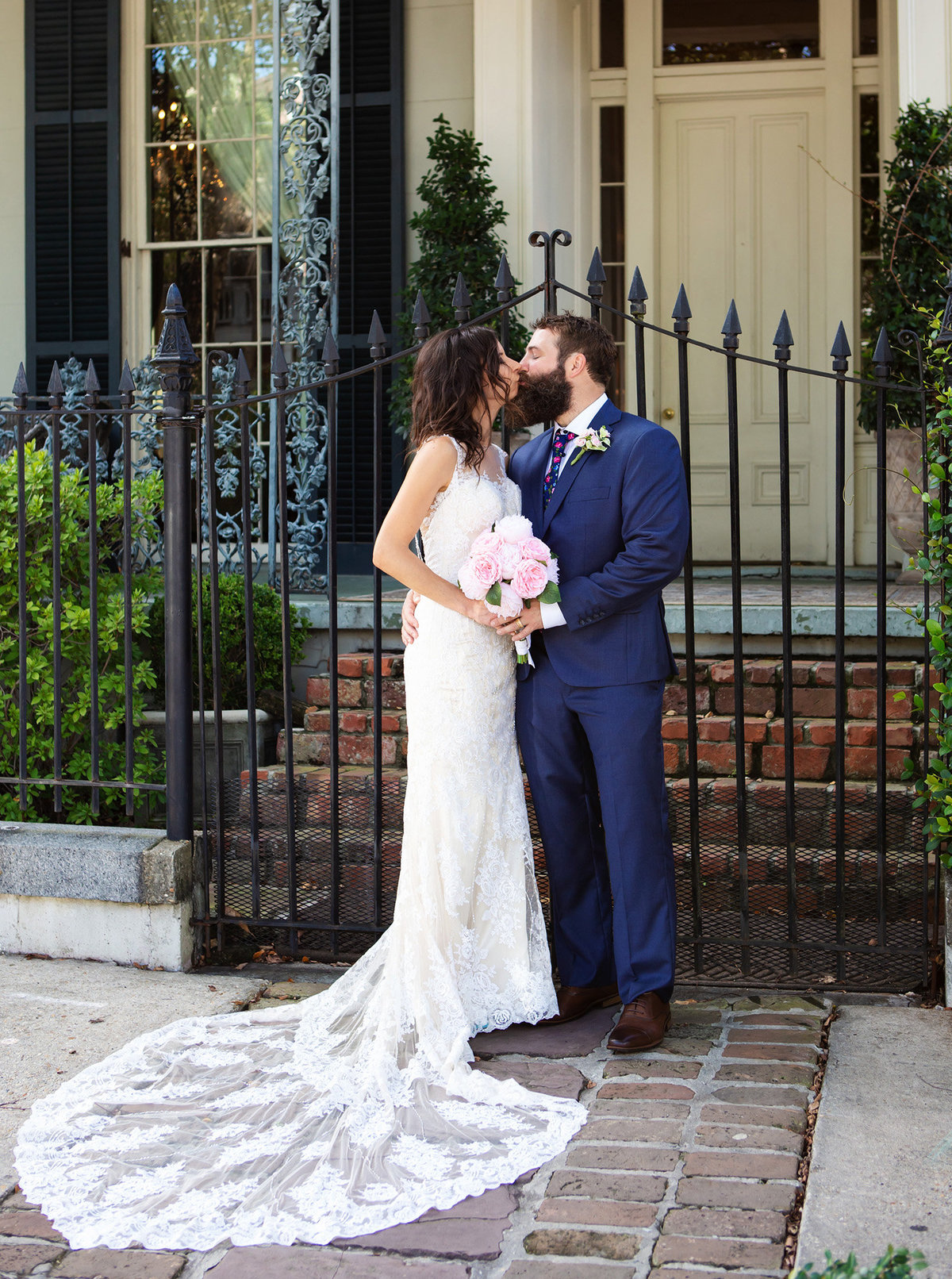 elopement wedding couple in front of The Terrell House