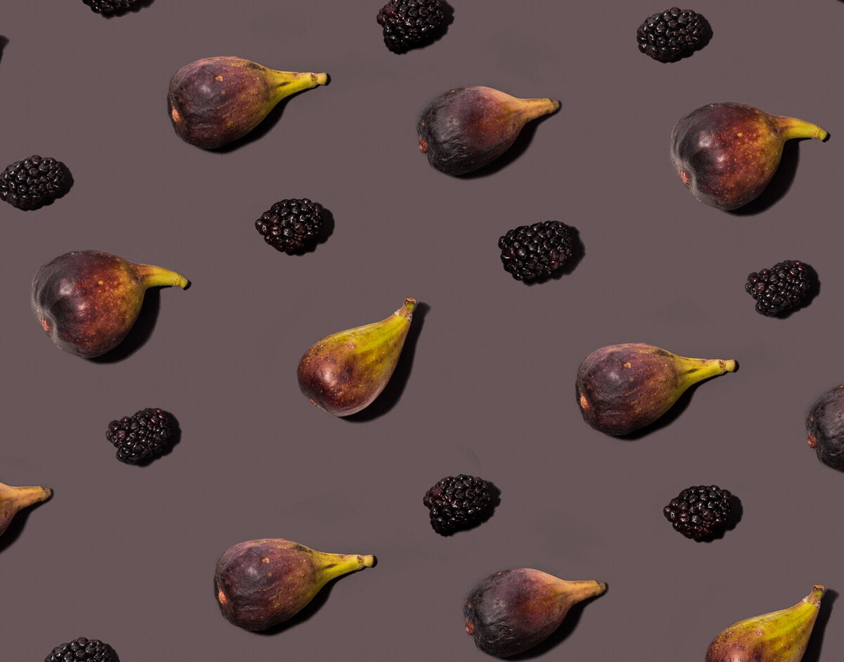 tiled figs and blueberries on grey