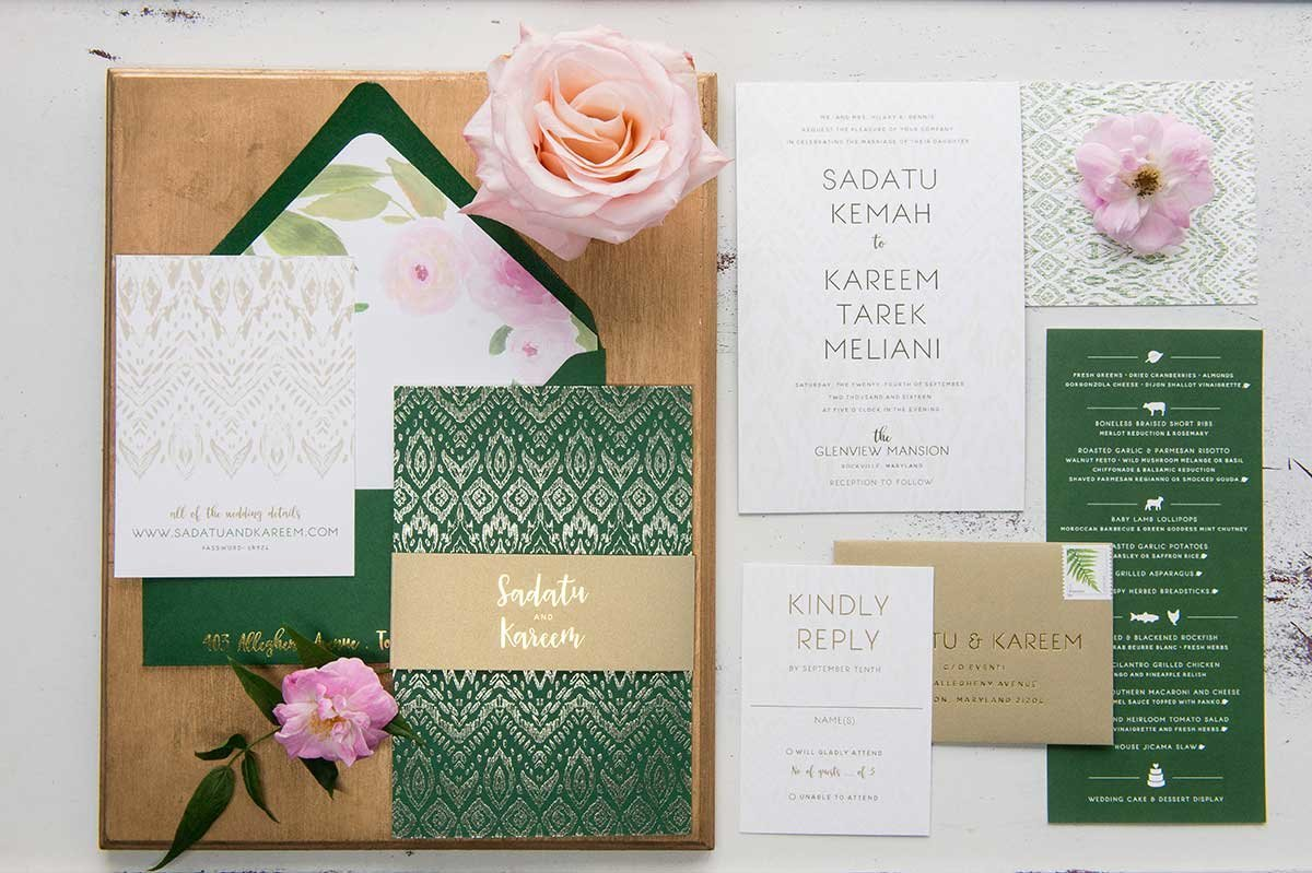 Sadatu-InvitationSuite-GreenGoldFoil-GlenviewMansion