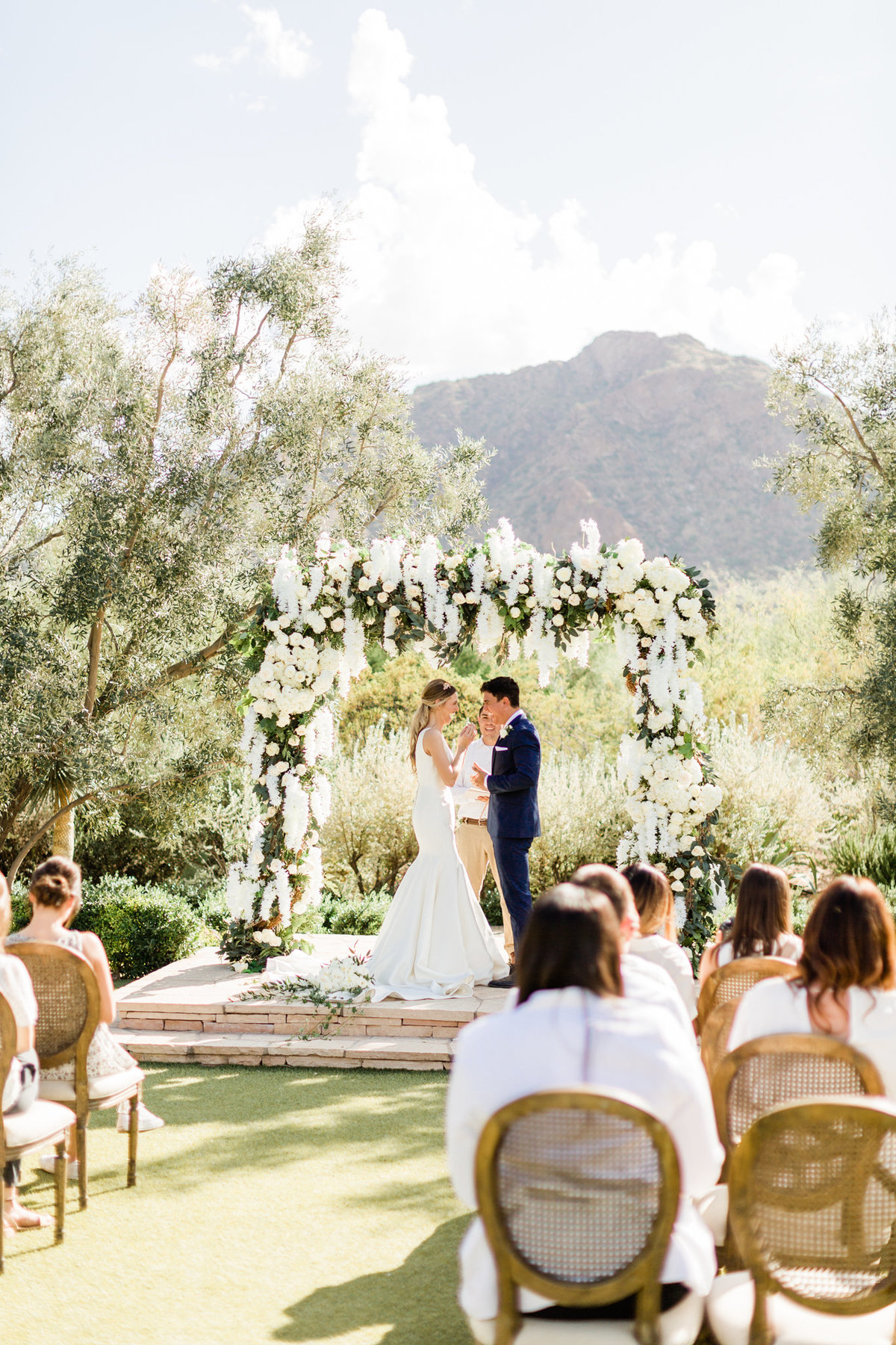 wedding ceremony for a fall wedding at el chorro weddings in paradise arizona