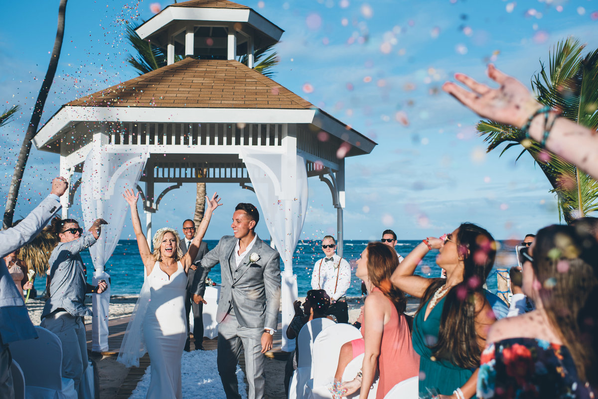 Bride and groom at their Punta Cana beach wedding ceremony