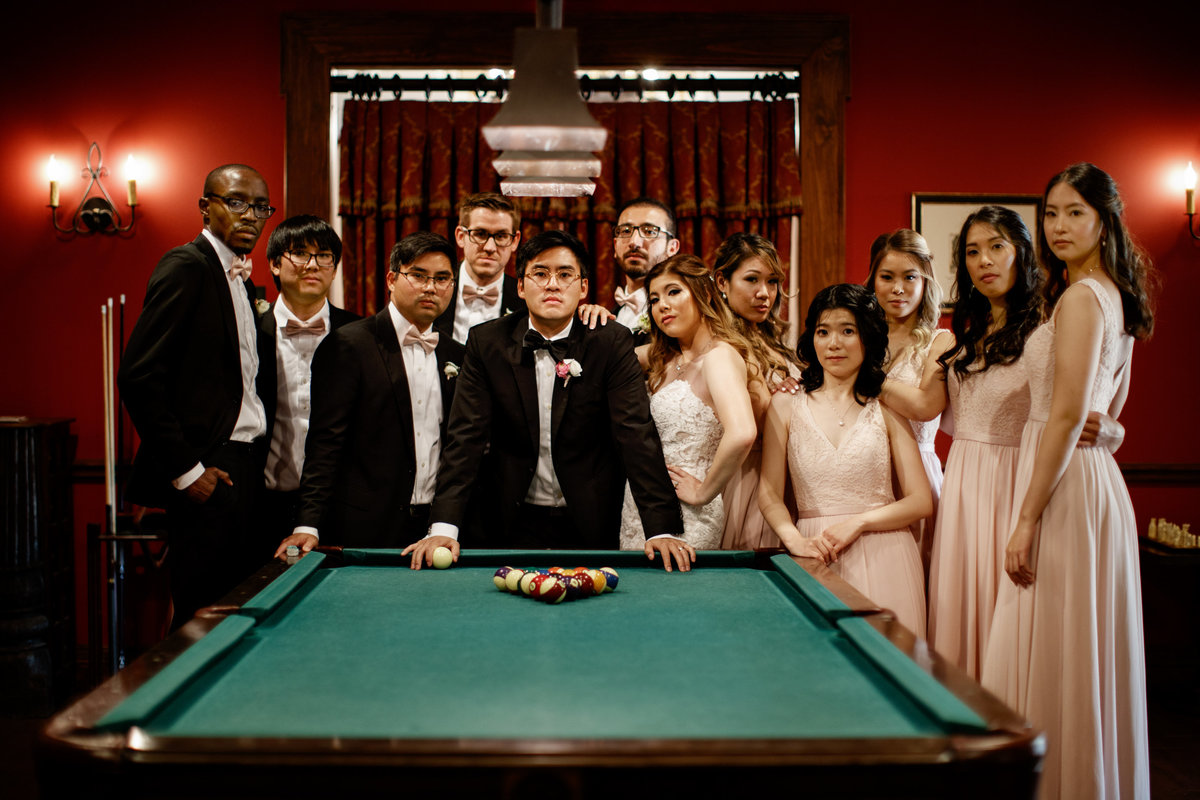 hotel granduca wedding photographer bridal party pool table bride groom 320 S Capital of Texas Hwy, West Lake Hills, TX 78746