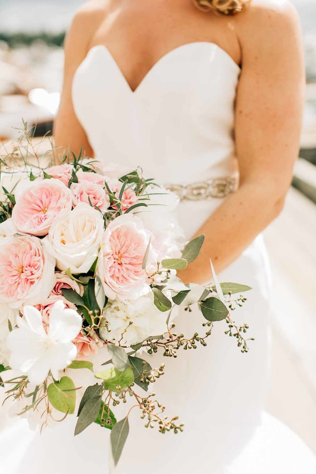 Stunning bridal bouquet designed by Flora Nova Design for this Seattle summer tent wedding.