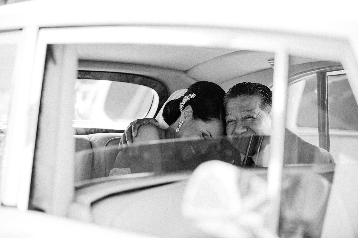 sweet moment between father and daughter on a wedding day
