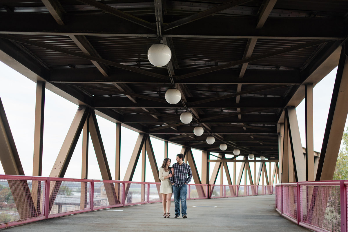 mud island bridge engagment photo