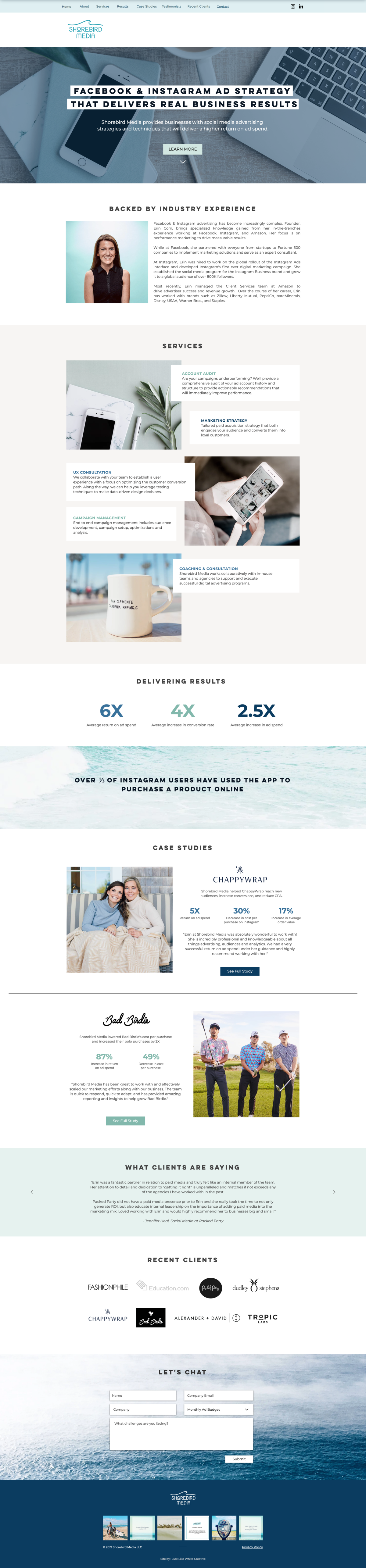 Ocean inspired website design