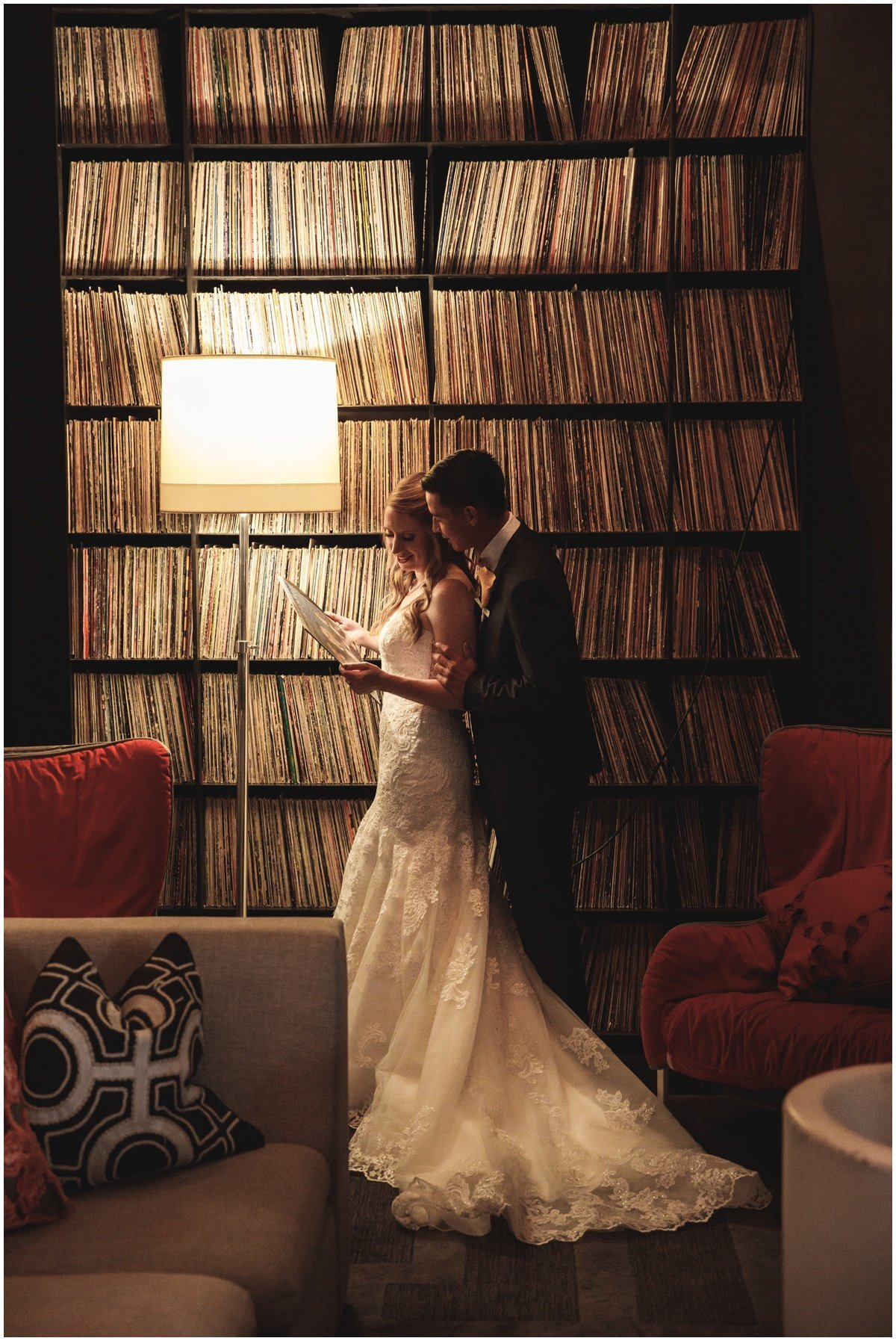 Austin wedding photographer w hotel wedding photographer bride groom record room