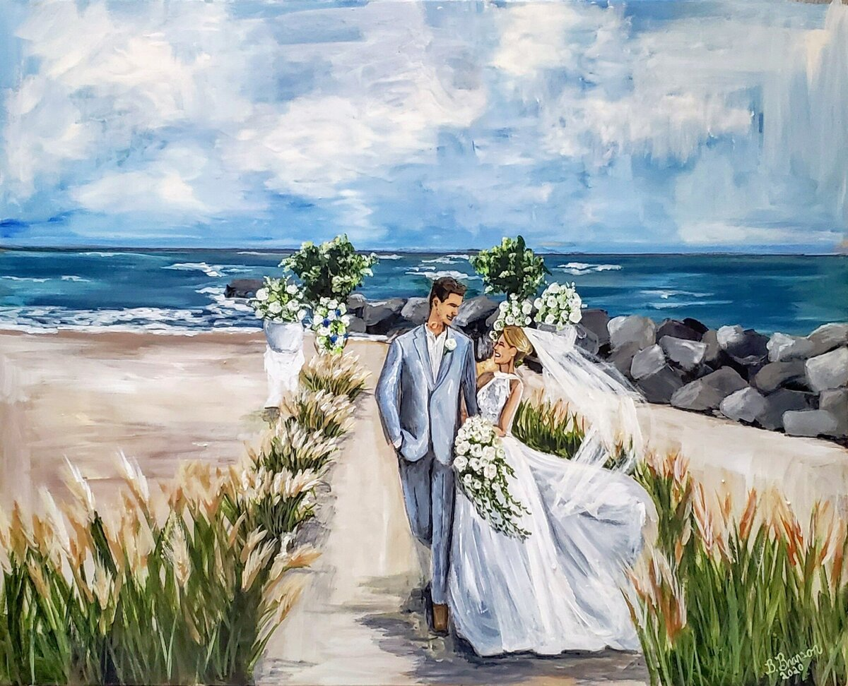 Live wedding painting of a bride and groom walking on the beach down the Jersey Shore in Cape May New Jersey