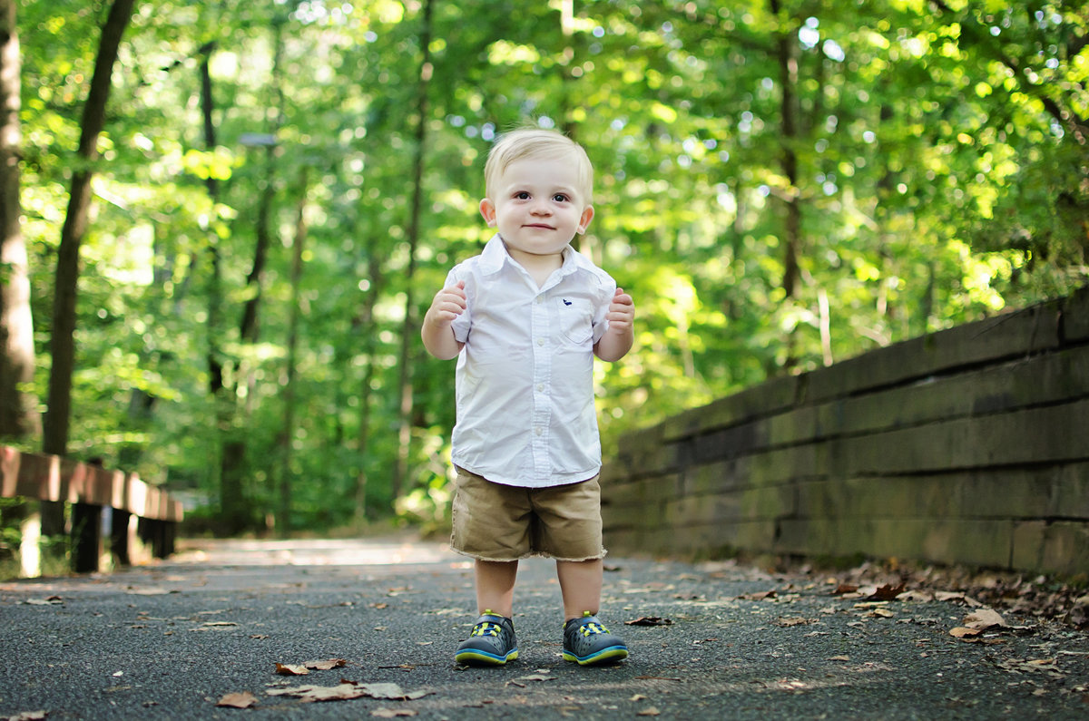Portrait of a cute toddler at Lubber Run Park in Arlington, Virginia taken by Sarah Alice Photography