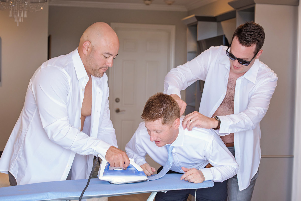 Funny groom prep photo