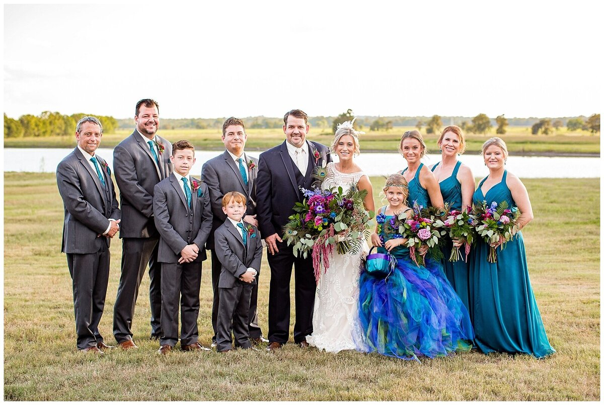 Houston Day of Wedding Coordination for Peacock Inspired Wedding Party Portraits at Emery's Buffalo Creek- J Richter Events_0008