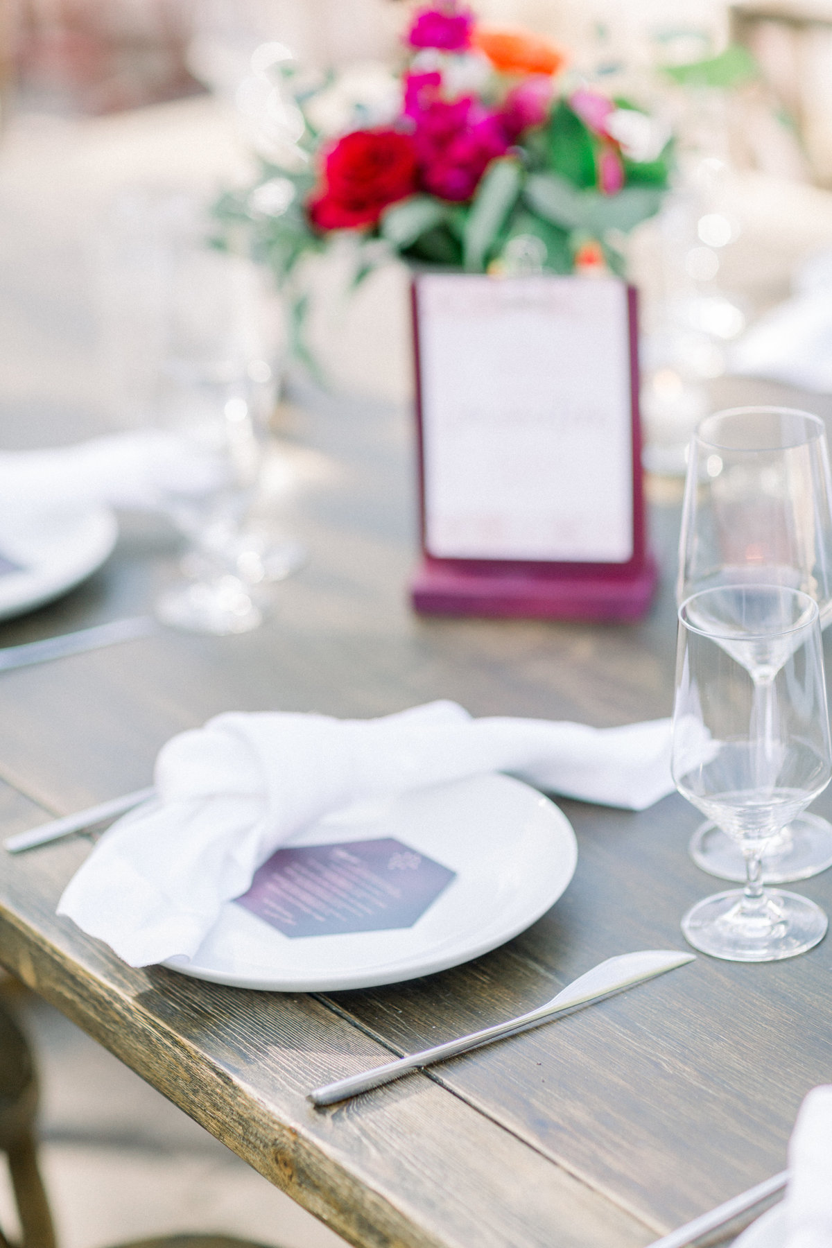 wedding reception table setting with geometric menu cards at Maravilla Gardens