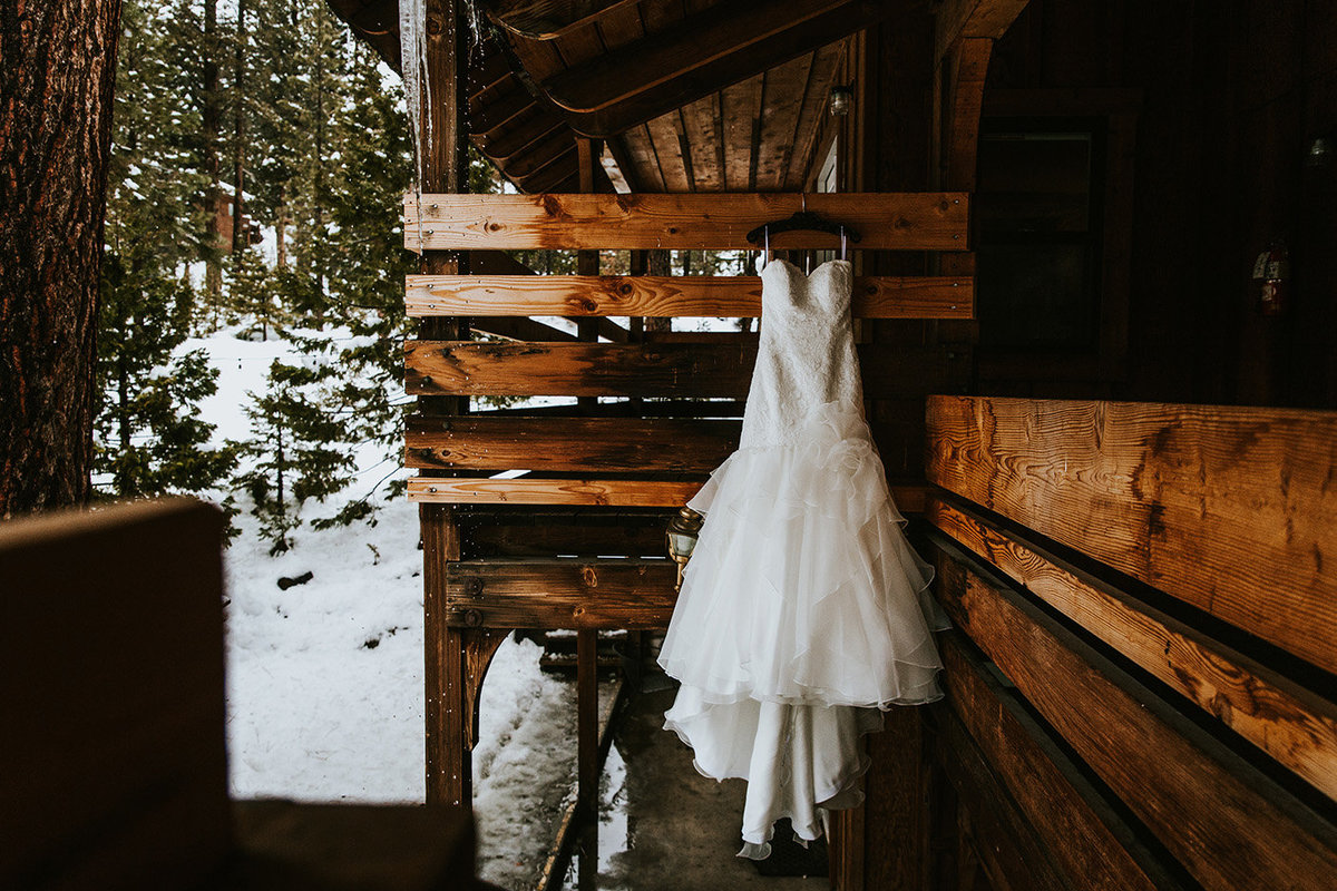 dress hanging at a lodge in Lake Tahoe California