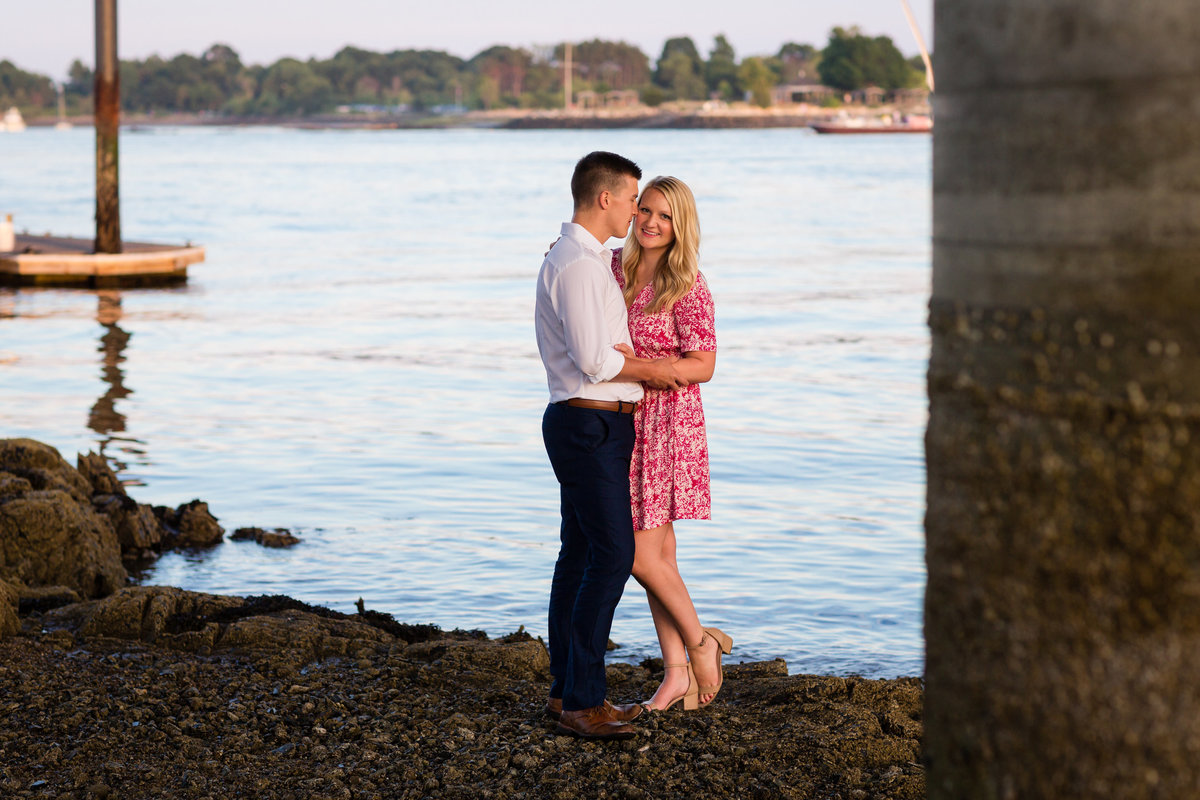 Under the bridge for their photos on Badgers Island Maine engagement session