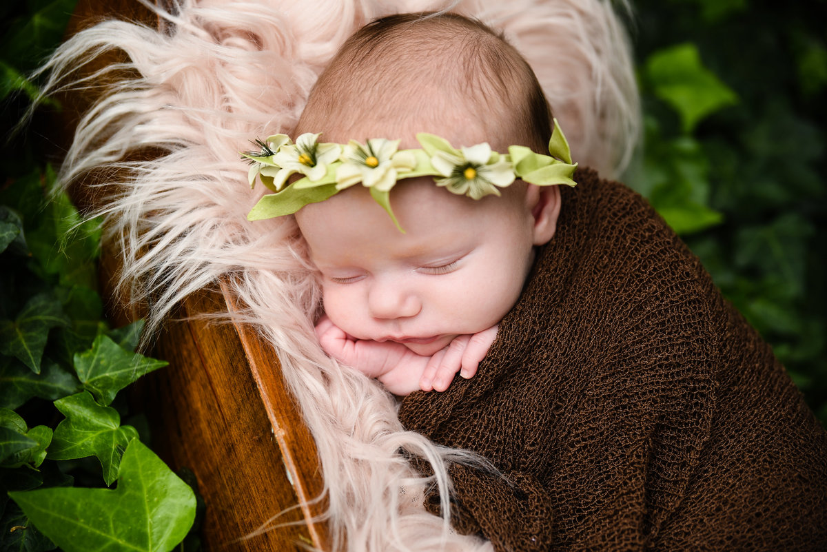 Beautiful Mississippi newborn photography: newborn girl with floral headband in a wooden cradle among a bed of ivy