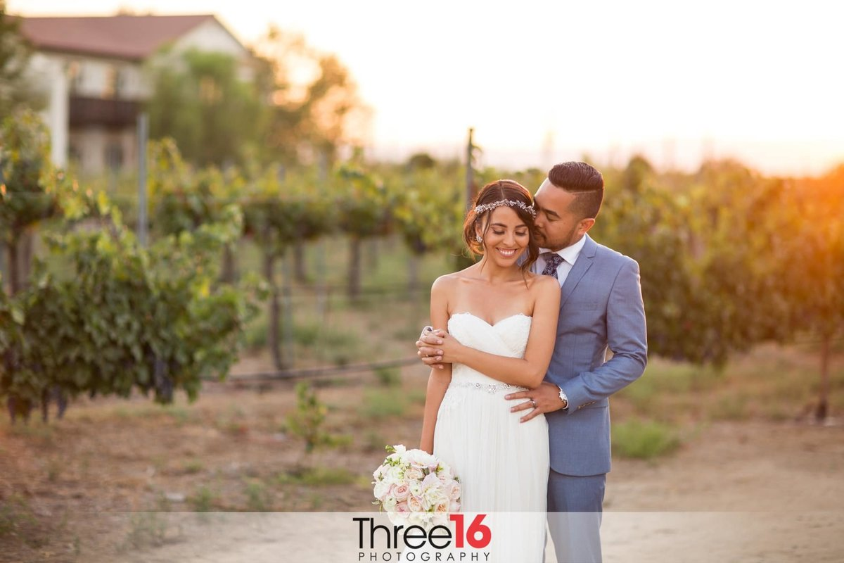 Sharing a fun moment between newly married couple at Ponte Winery