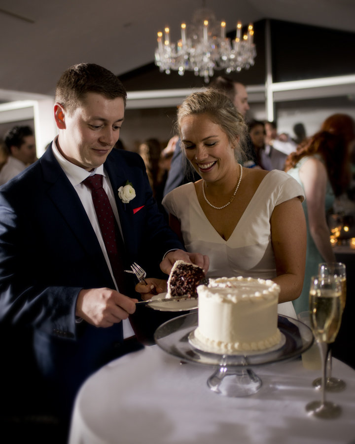 Bride and Groom Cutting Cake at Top of the Town Wedding, Arlington, VA