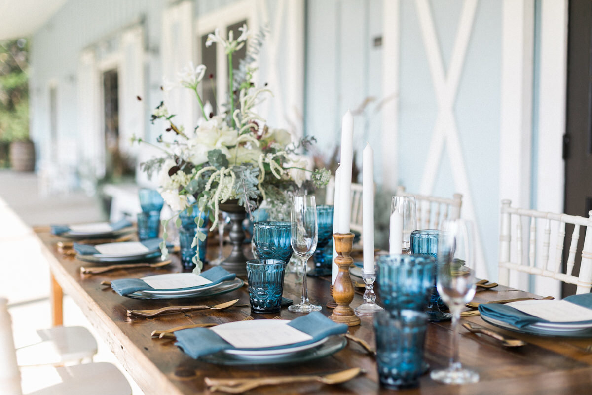 blue water glass, harvest table, southern wedding