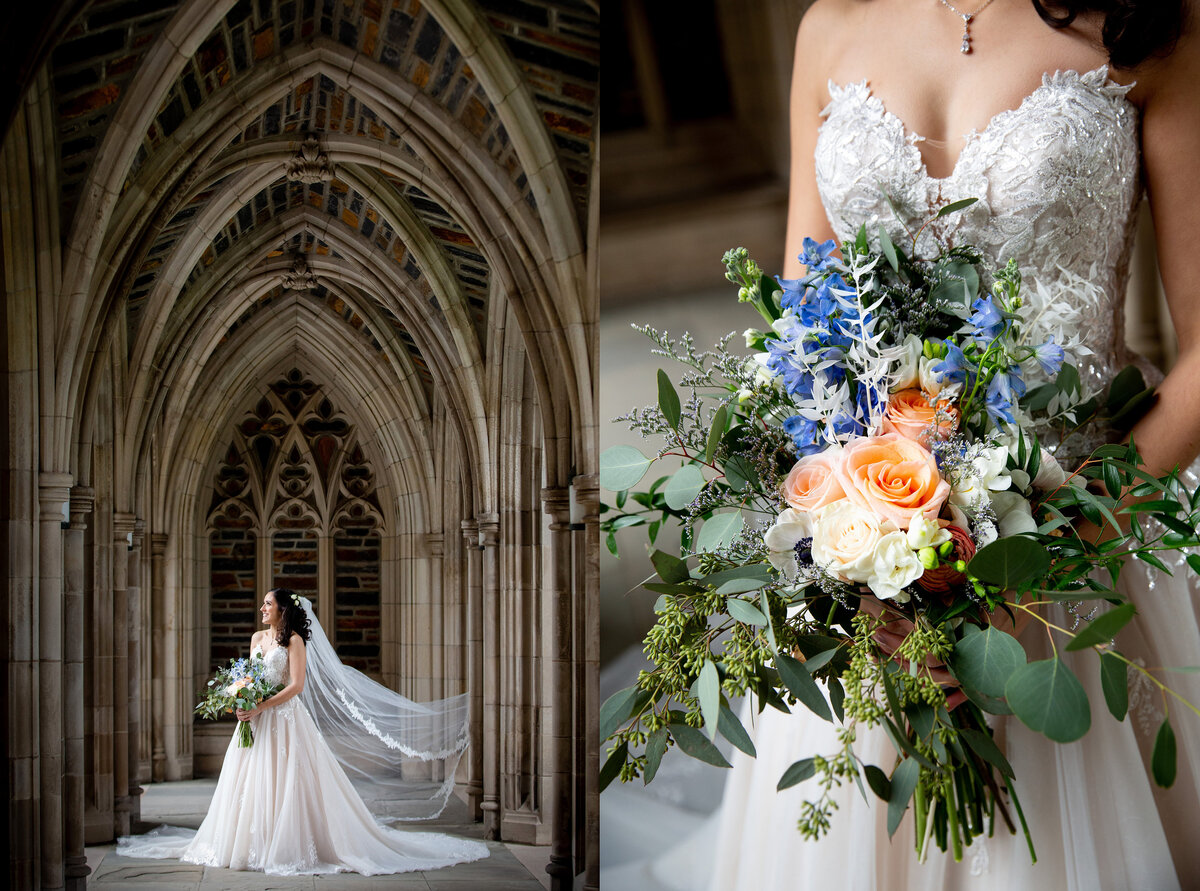 Bridal portraits inside the Arcades of Duke University Chapel in Durham
