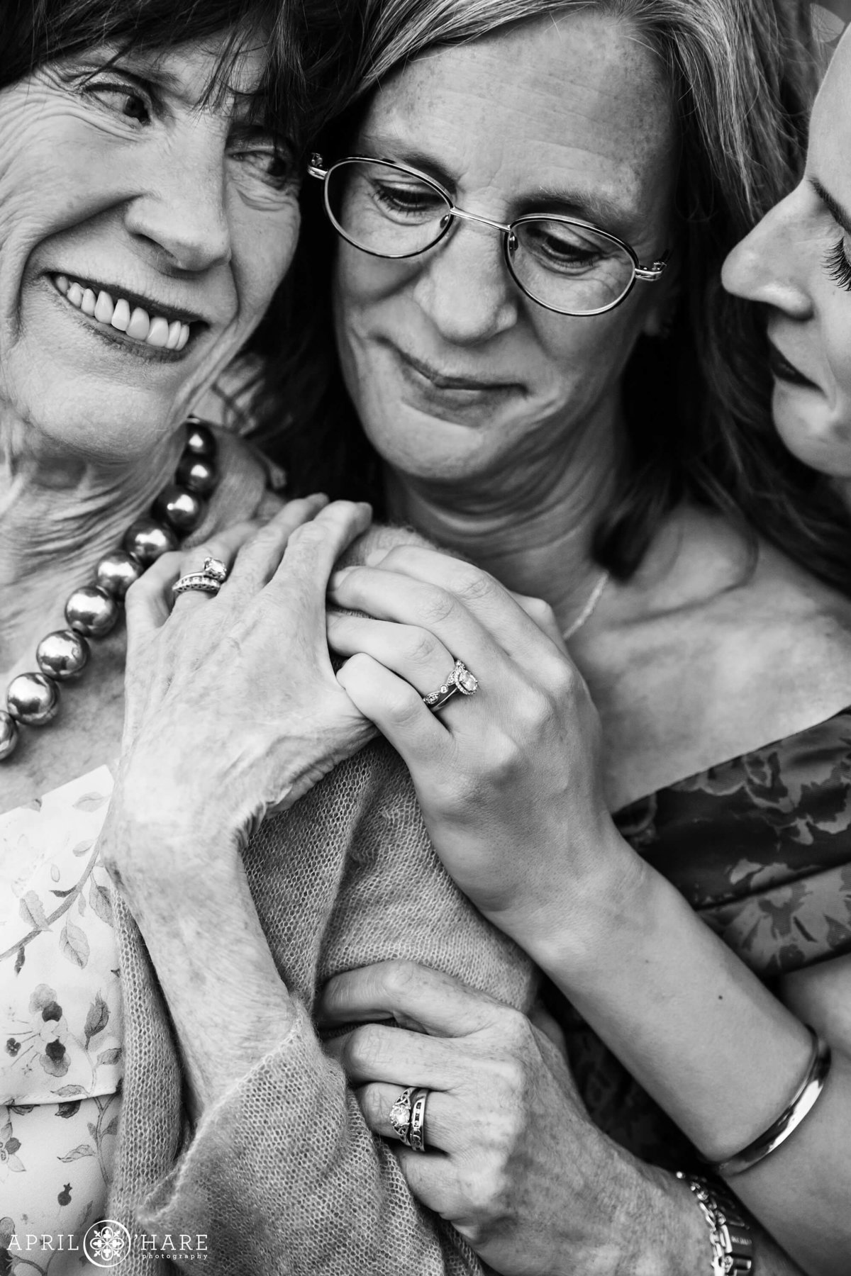 B&W Emotional Generational Portrait on a Wedding Day in Colorado