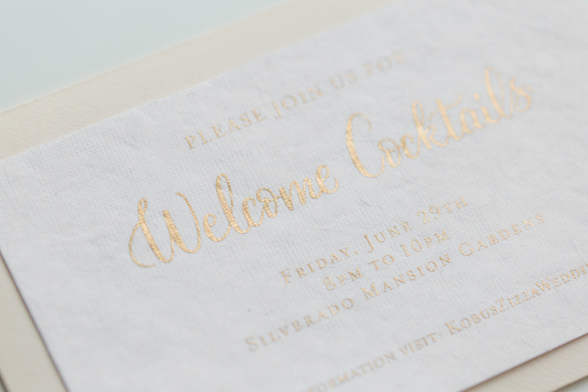 Wedding custom calligraphy with gold ink