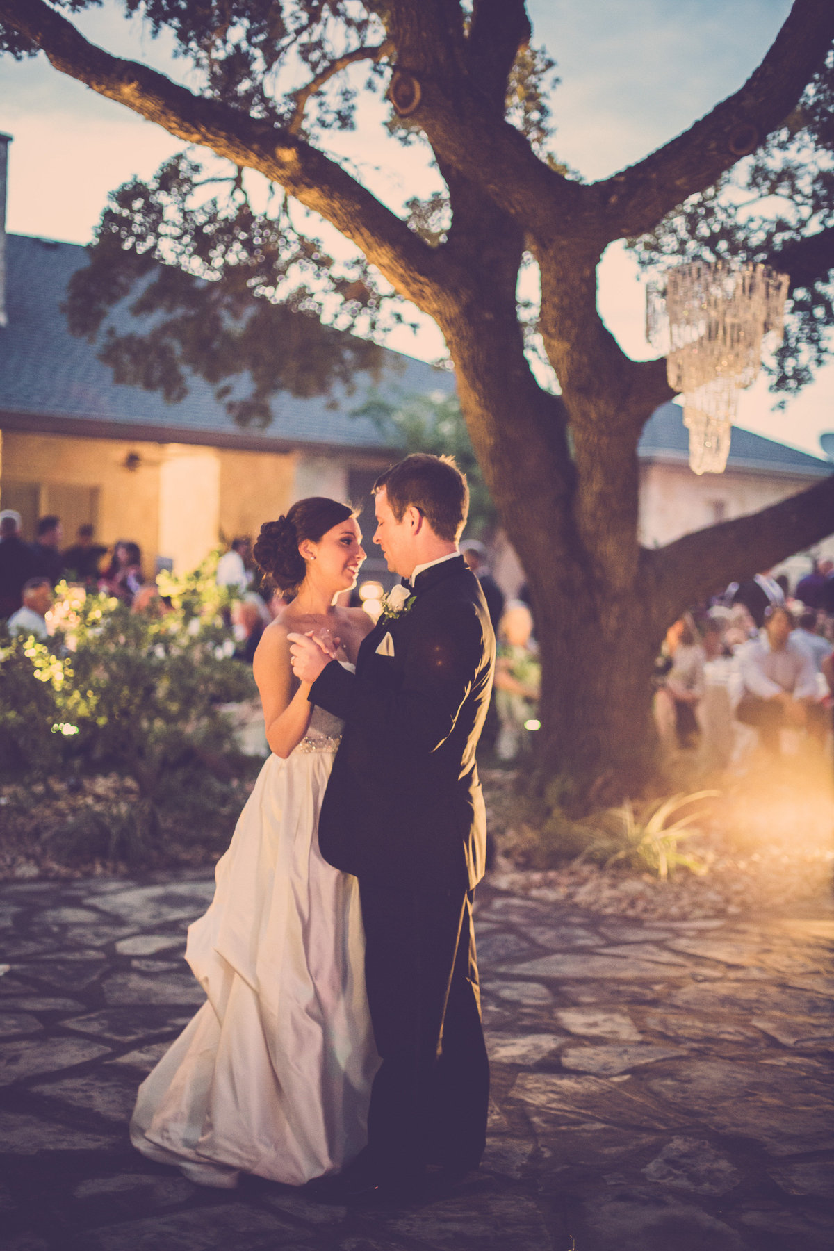 bride and groom wedding first dance outdoors in helotes texas hill country wedding