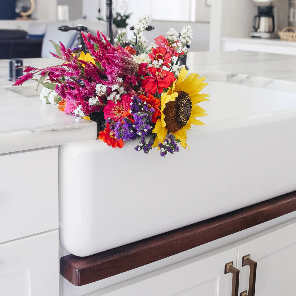 flowers in sink