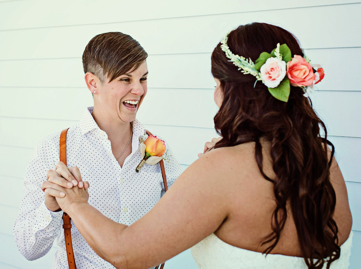 bride sees bride for first look in Slidell, Louisiana