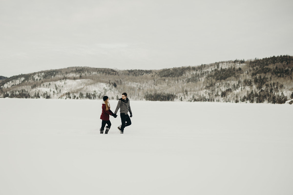 mountain lake winter engagement