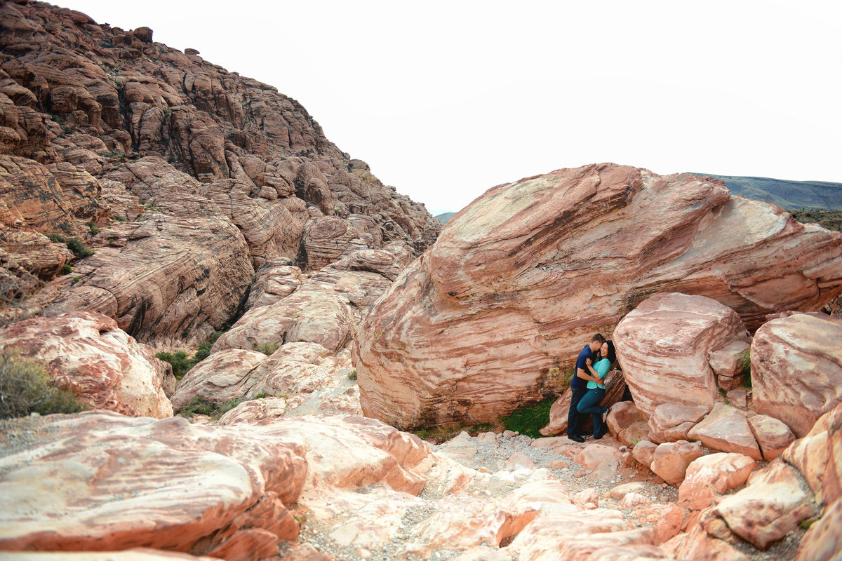 dramatic engagement photo of couple at red rock canyon