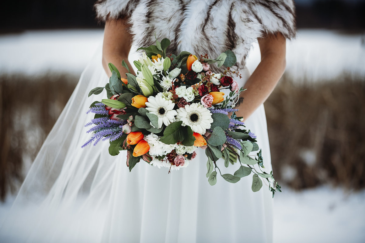 Valemount BC Floral Bouquet in Winter Wedding Photography