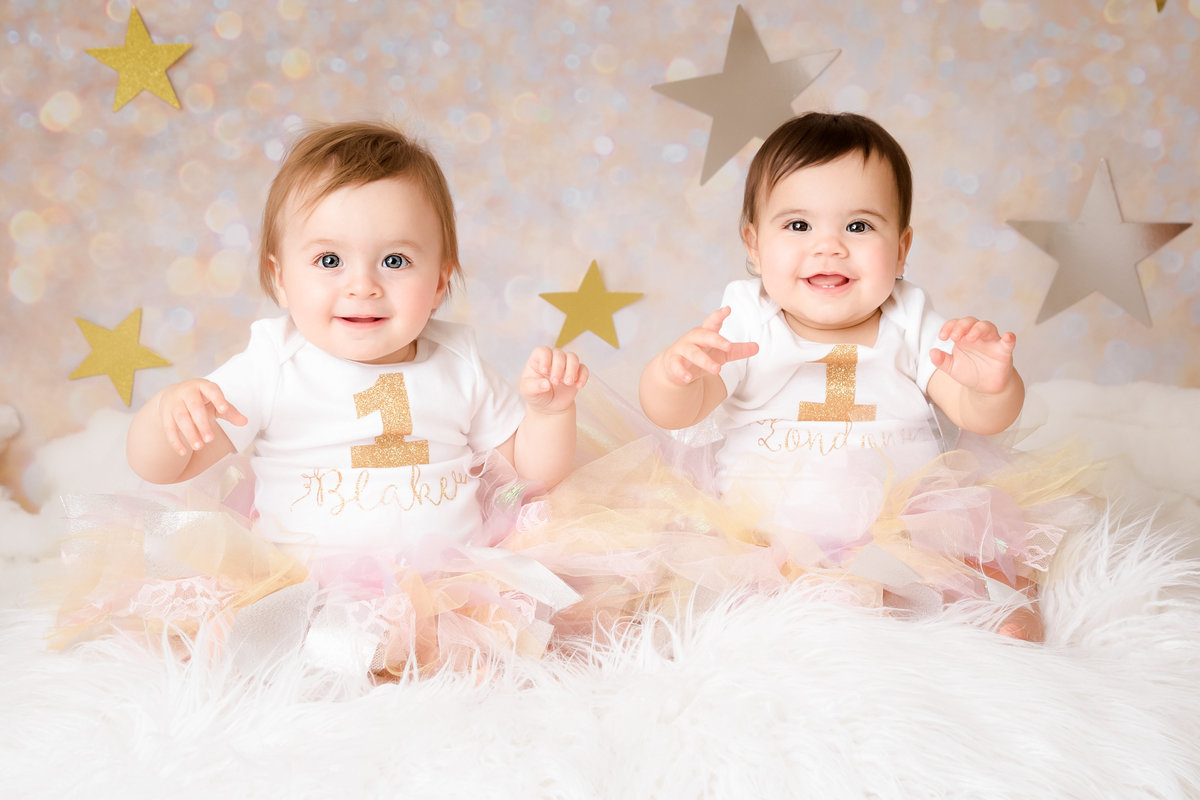 Twins on their first birthday