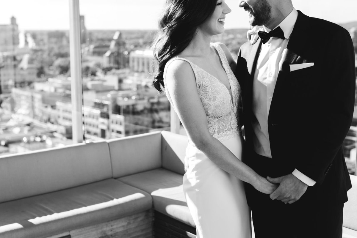 bride and groom first look on the rooftop of the andaz hotel