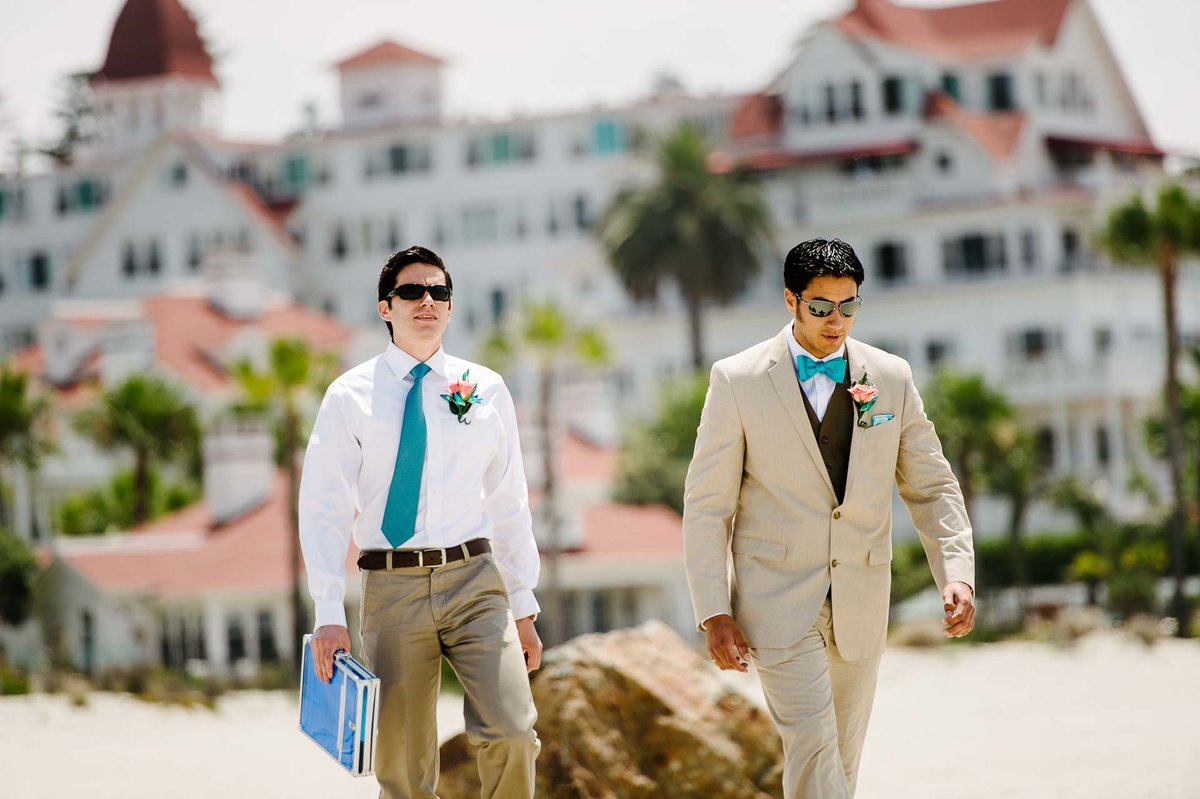 groom walking to wedding ceremony at coronado hotel