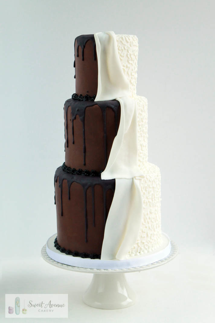 white and chocolate drip peekaboo wedding cake