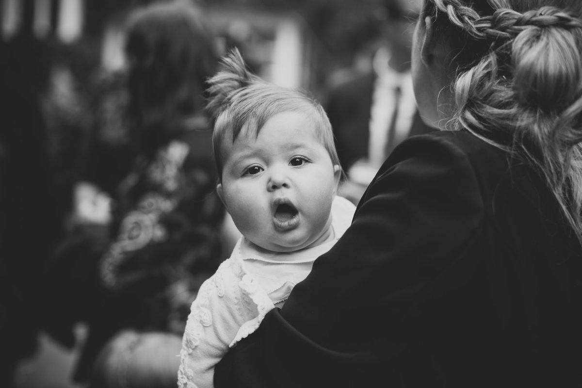 a cute baby in b&w